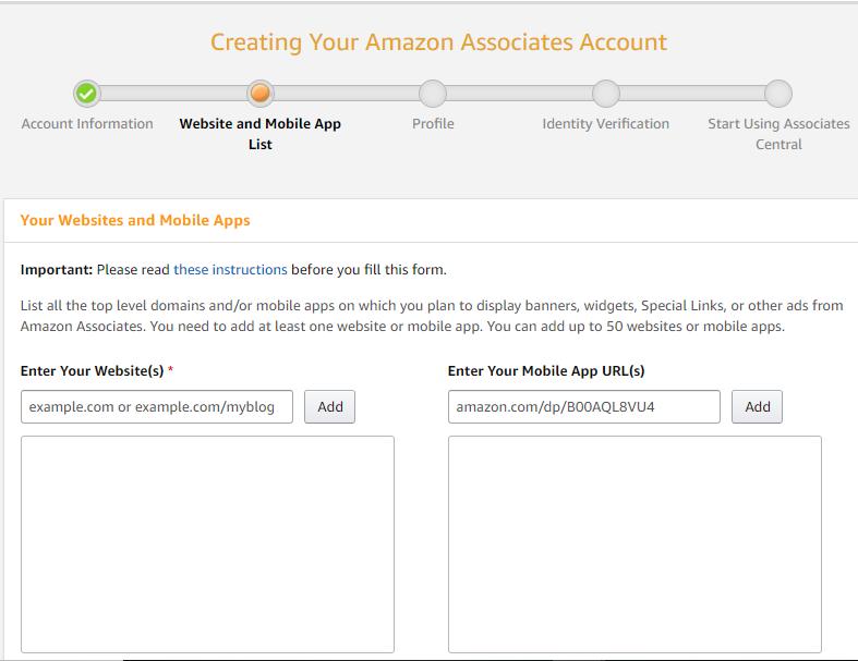 Amazon affiliate program signup form