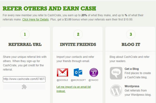 Cashcrate referrals