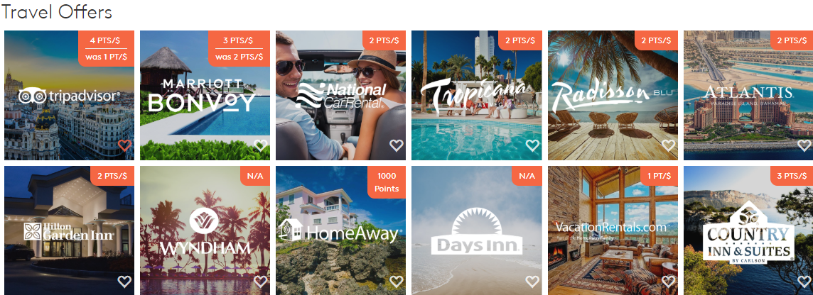 Mypoints featured travel offers