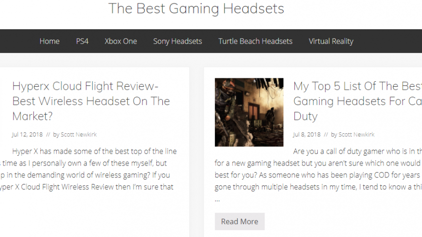 Gaming headsets site