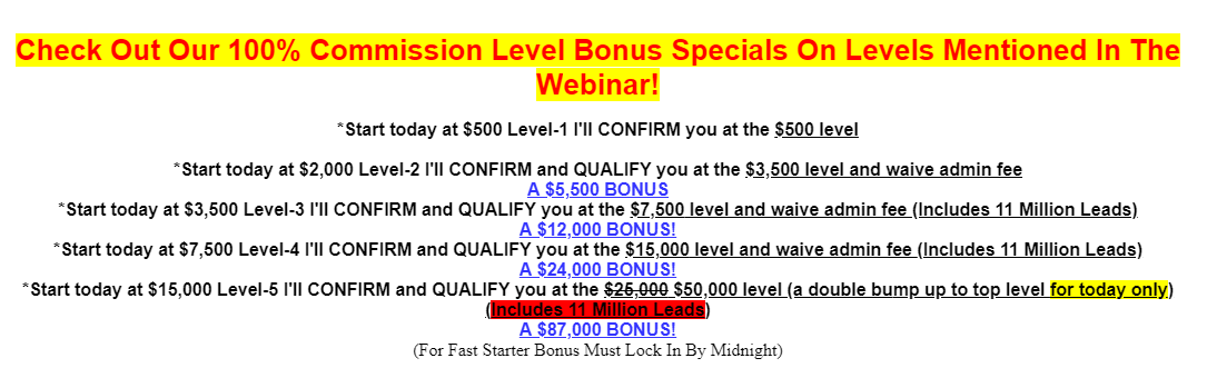 Fast cash pay system compensation plan