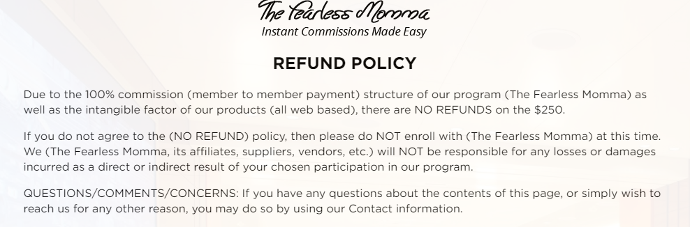 Fearless mamma no refund policy